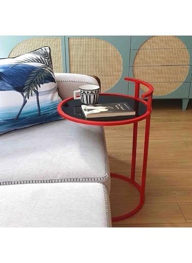 Maxmillen Modern Tasarım  Yan Sehpa ( Çap ) -  40 - ( Y ) -  60 Cm Renk Kırmızı Renkli
